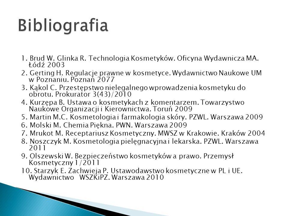1. Brud W. Glinka R. Technologia Kosmetyków. Oficyna Wydawnicza MA. Łódź 2003 2. Gerting H. Regulacje prawne w kosmetyce. Wydawnictwo Naukowe UM w Poz
