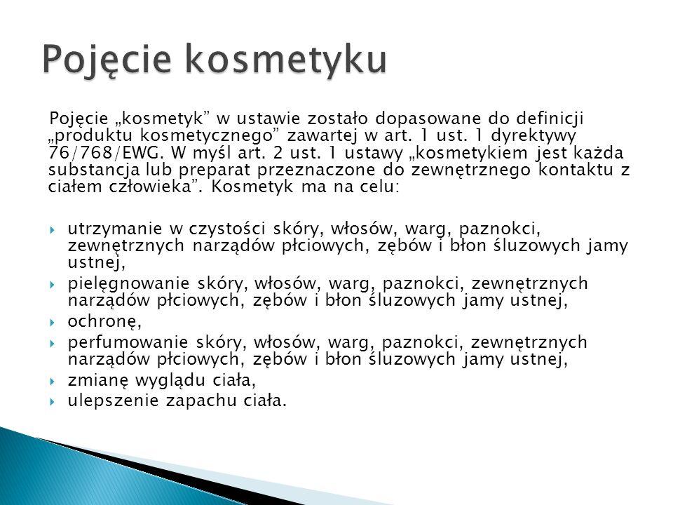 Pojęcie kosmetyk w ustawie zostało dopasowane do definicji produktu kosmetycznego zawartej w art. 1 ust. 1 dyrektywy 76/768/EWG. W myśl art. 2 ust. 1