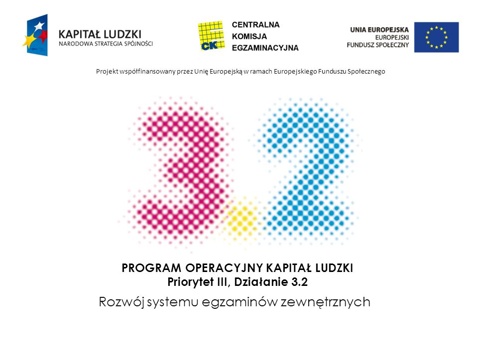 PROGRAM OPERACYJNY KAPITAŁ LUDZKI Priorytet III, Działanie 3.2 Rozwój systemu egzaminów zewnętrznych Projekt współfinansowany przez Unię Europejską w