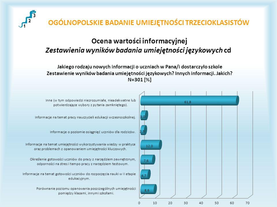 OGÓLNOPOLSKIE BADANIE UMIEJĘTNOŚCI TRZECIOKLASISTÓW Ocena wartości informacyjnej Zestawienia wyników badania umiejętności językowych cd