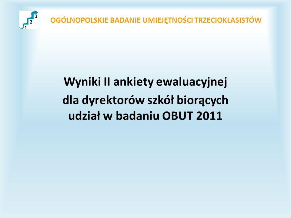 OGÓLNOPOLSKIE BADANIE UMIEJĘTNOŚCI TRZECIOKLASISTÓW Wyniki II ankiety ewaluacyjnej dla dyrektorów szkół biorących udział w badaniu OBUT 2011
