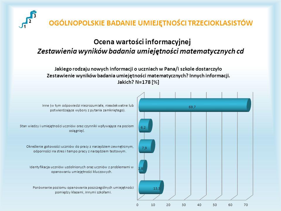 OGÓLNOPOLSKIE BADANIE UMIEJĘTNOŚCI TRZECIOKLASISTÓW Ocena wartości informacyjnej Zestawienia wyników badania umiejętności matematycznych cd