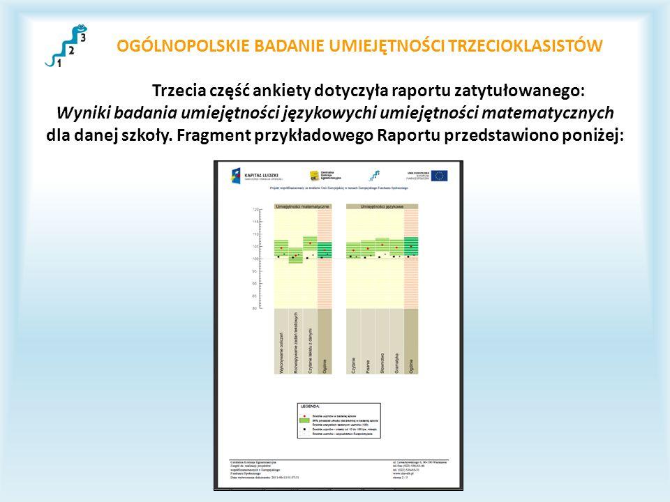 OGÓLNOPOLSKIE BADANIE UMIEJĘTNOŚCI TRZECIOKLASISTÓW Trzecia część ankiety dotyczyła raportu zatytułowanego: Wyniki badania umiejętności językowychi um