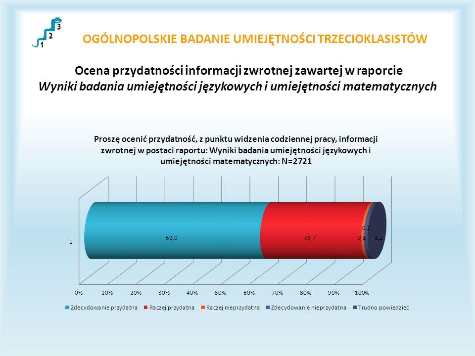 OGÓLNOPOLSKIE BADANIE UMIEJĘTNOŚCI TRZECIOKLASISTÓW Ocena przydatności informacji zwrotnej zawartej w raporcie Wyniki badania umiejętności językowych