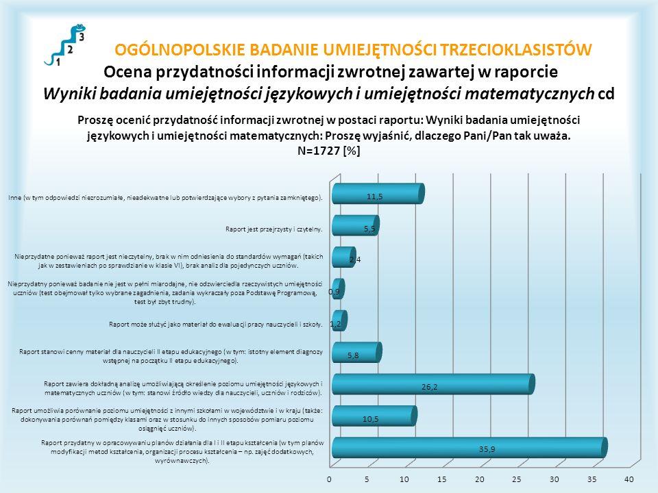 OGÓLNOPOLSKIE BADANIE UMIEJĘTNOŚCI TRZECIOKLASISTÓW Ocena przydatności informacji zwrotnej zawartej w raporcie Wyniki badania umiejętności językowych i umiejętności matematycznych cd