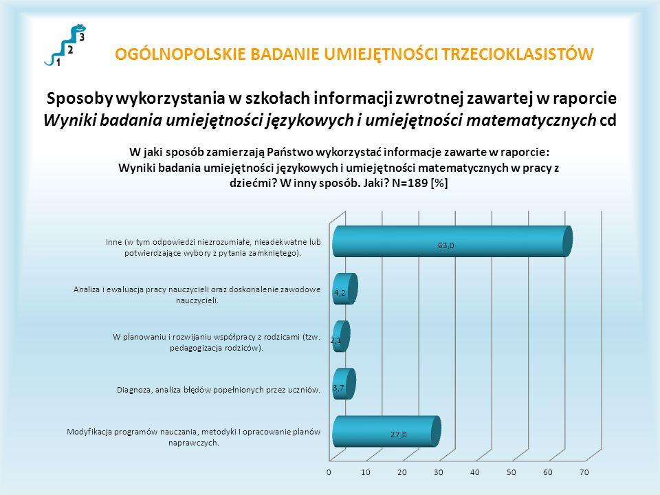 OGÓLNOPOLSKIE BADANIE UMIEJĘTNOŚCI TRZECIOKLASISTÓW Sposoby wykorzystania w szkołach informacji zwrotnej zawartej w raporcie Wyniki badania umiejętnoś
