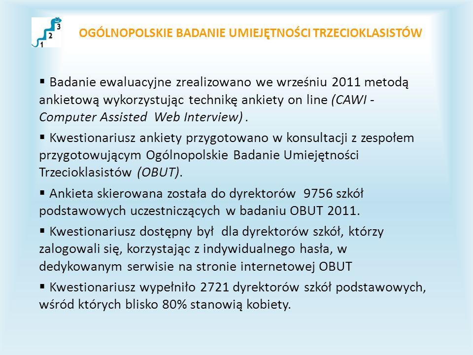 OGÓLNOPOLSKIE BADANIE UMIEJĘTNOŚCI TRZECIOKLASISTÓW Badanie ewaluacyjne zrealizowano we wrześniu 2011 metodą ankietową wykorzystując technikę ankiety on line (CAWI - Computer Assisted Web Interview).