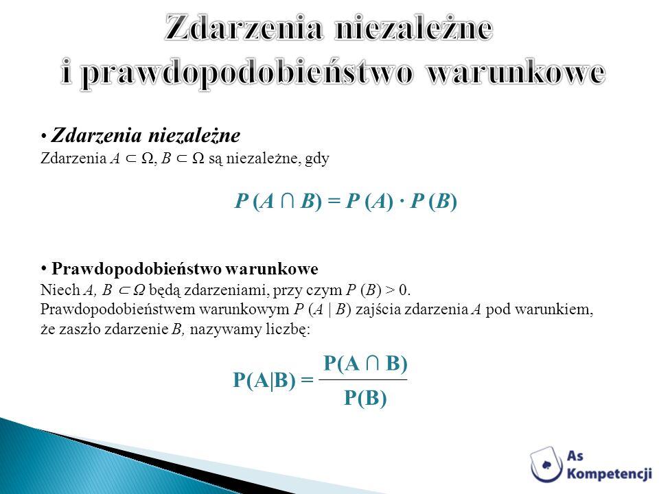 Zdarzenia niezależne Zdarzenia A Ω, B Ω są niezależne, gdy P (A B) = P (A) · P (B) Prawdopodobieństwo warunkowe Niech A, B Ω będą zdarzeniami, przy cz
