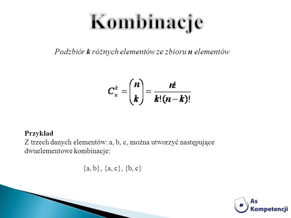 Podzbiór k różnych elementów ze zbioru n elementów Przykład Z trzech danych elementów: a, b, c, można utworzyć następujące dwuelementowe kombinacje: {
