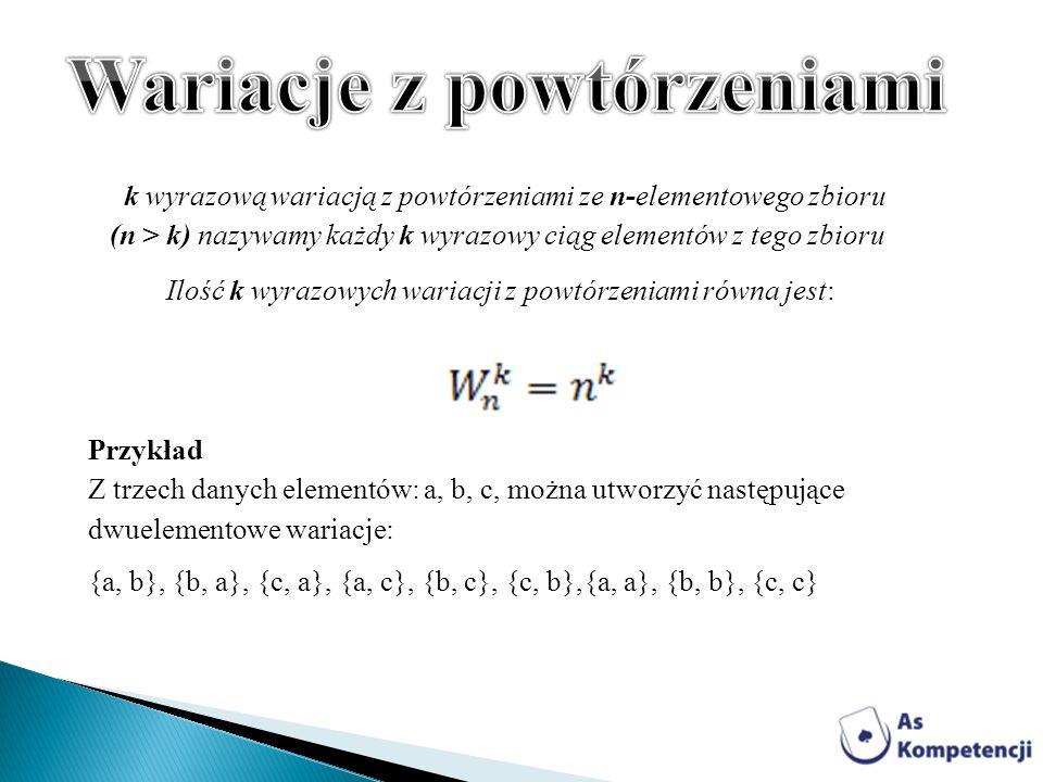 Przykład Z trzech danych elementów: a, b, c, można utworzyć następujące dwuelementowe wariacje: {a, b}, {b, a}, {c, a}, {a, c}, {b, c}, {c, b},{a, a},