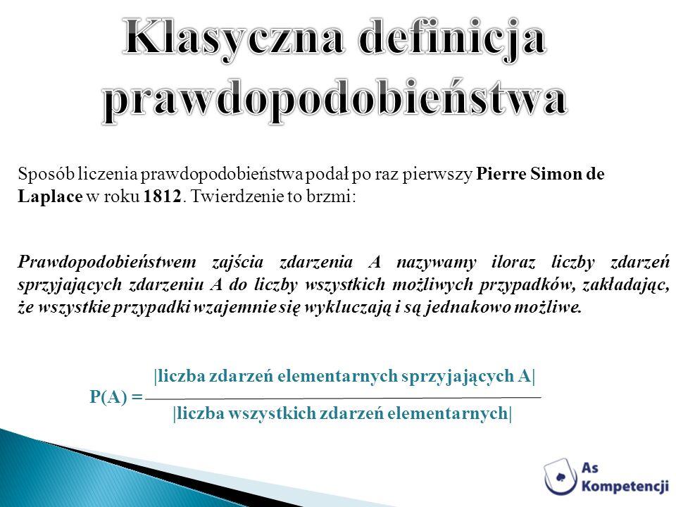 Sposób liczenia prawdopodobieństwa podał po raz pierwszy Pierre Simon de Laplace w roku 1812. Twierdzenie to brzmi: Prawdopodobieństwem zajścia zdarze