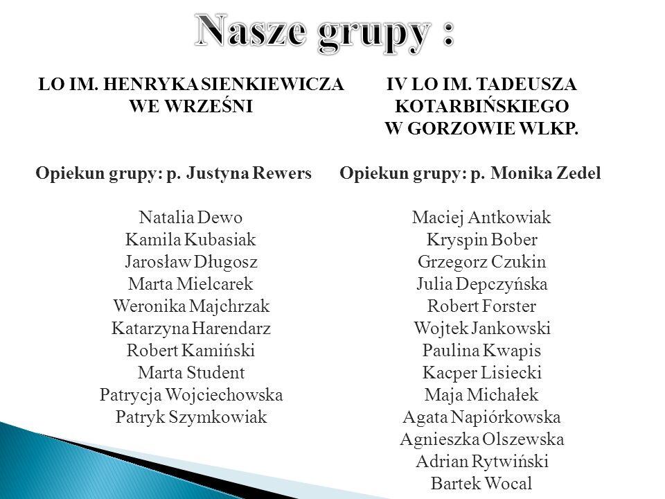 IV LO IM. TADEUSZA KOTARBIŃSKIEGO W GORZOWIE WLKP. Opiekun grupy: p. Monika Zedel Maciej Antkowiak Kryspin Bober Grzegorz Czukin Julia Depczyńska Robe