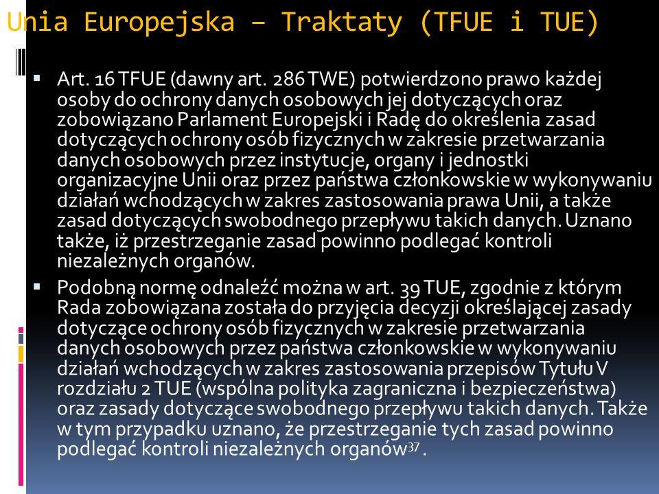 Unia Europejska – Traktaty (TFUE i TUE) Art.16 TFUE (dawny art.