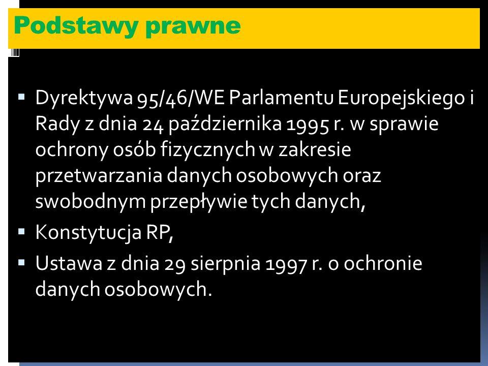 Podstawy prawne Dyrektywa 95/46/WE Parlamentu Europejskiego i Rady z dnia 24 października 1995 r.