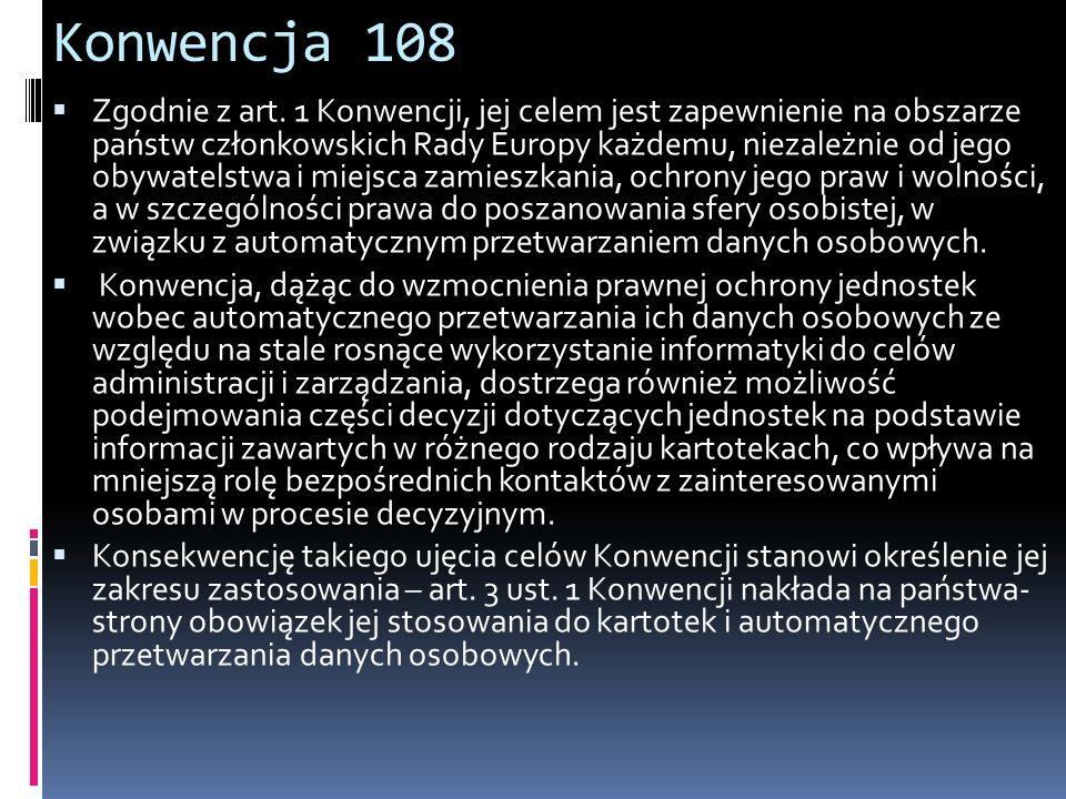 Konwencja 108 Zgodnie z art.