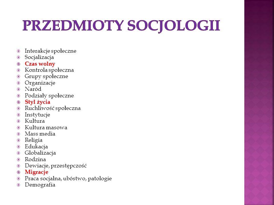 Interakcje społeczne Socjalizacja Czas wolny Czas wolny Kontrola społeczna Grupy społeczne Organizacje Naród Podziały społeczne Styl życia Styl życia