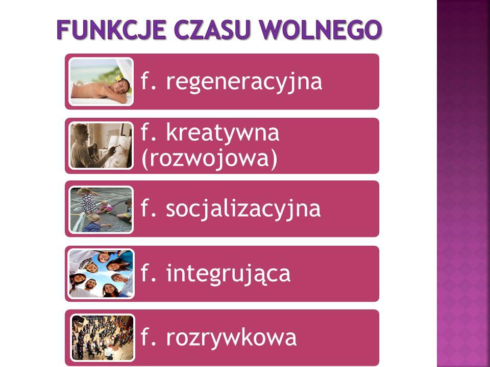 f. regeneracyjna f. kreatywna (rozwojowa) f. socjalizacyjna f. integrująca f. rozrywkowa