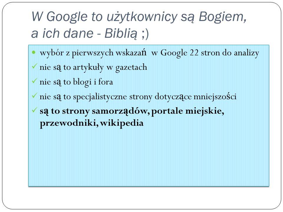 W Google to użytkownicy są Bogiem, a ich dane - Biblią ;) wybór z pierwszych wskaza ń w Google 22 stron do analizy nie s ą to artykuły w gazetach nie