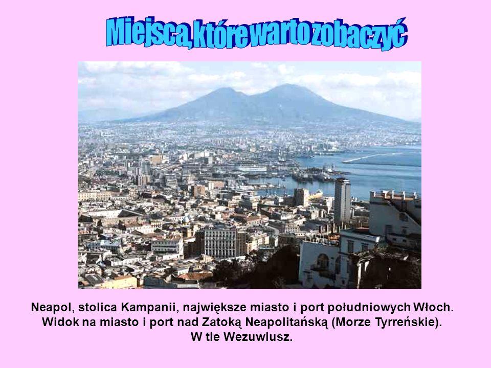 Neapol, stolica Kampanii, największe miasto i port południowych Włoch. Widok na miasto i port nad Zatoką Neapolitańską (Morze Tyrreńskie). W tle Wezuw