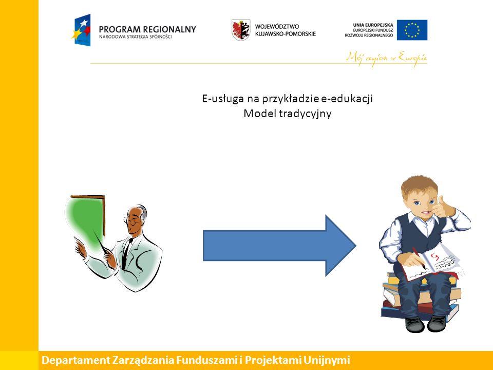 Departament Zarządzania Funduszami i Projektami Unijnymi E-usługa na przykładzie e-edukacji Model tradycyjny