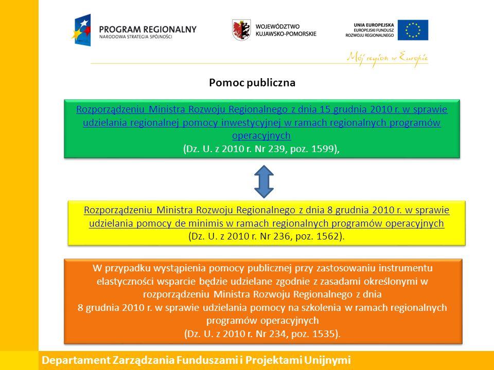 Departament Zarządzania Funduszami i Projektami Unijnymi Pomoc publiczna Rozporządzeniu Ministra Rozwoju Regionalnego z dnia 15 grudnia 2010 r.