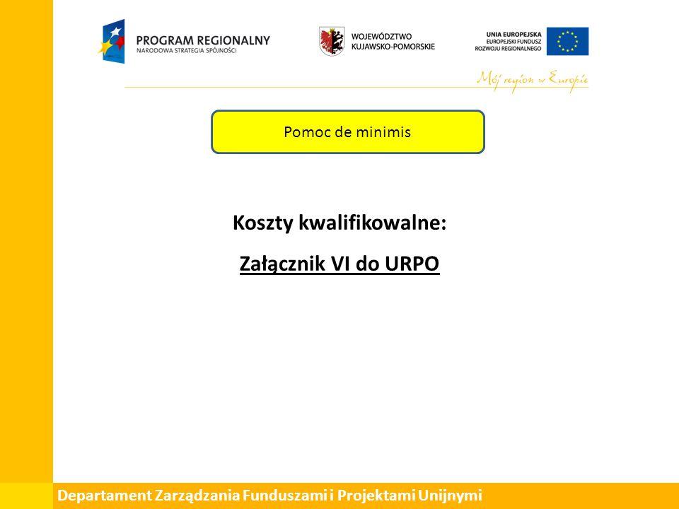 Departament Zarządzania Funduszami i Projektami Unijnymi Pomoc de minimis Koszty kwalifikowalne: Załącznik VI do URPO