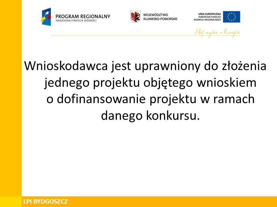 Wnioskodawca jest uprawniony do złożenia jednego projektu objętego wnioskiem o dofinansowanie projektu w ramach danego konkursu.