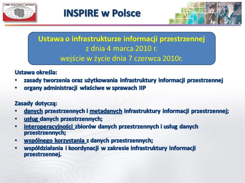 Ustawa o infrastrukturze informacji przestrzennej z dnia 4 marca 2010 r. wejście w życie dnia 7 czerwca 2010r.