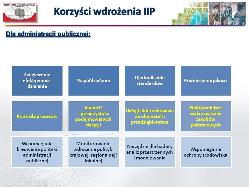 Zwiększenie efektywności działania Współdziałanie Ujednolicenie standardów Podniesienie jakości Kontrola procesów Jawność i przejrzystość podejmowanyc