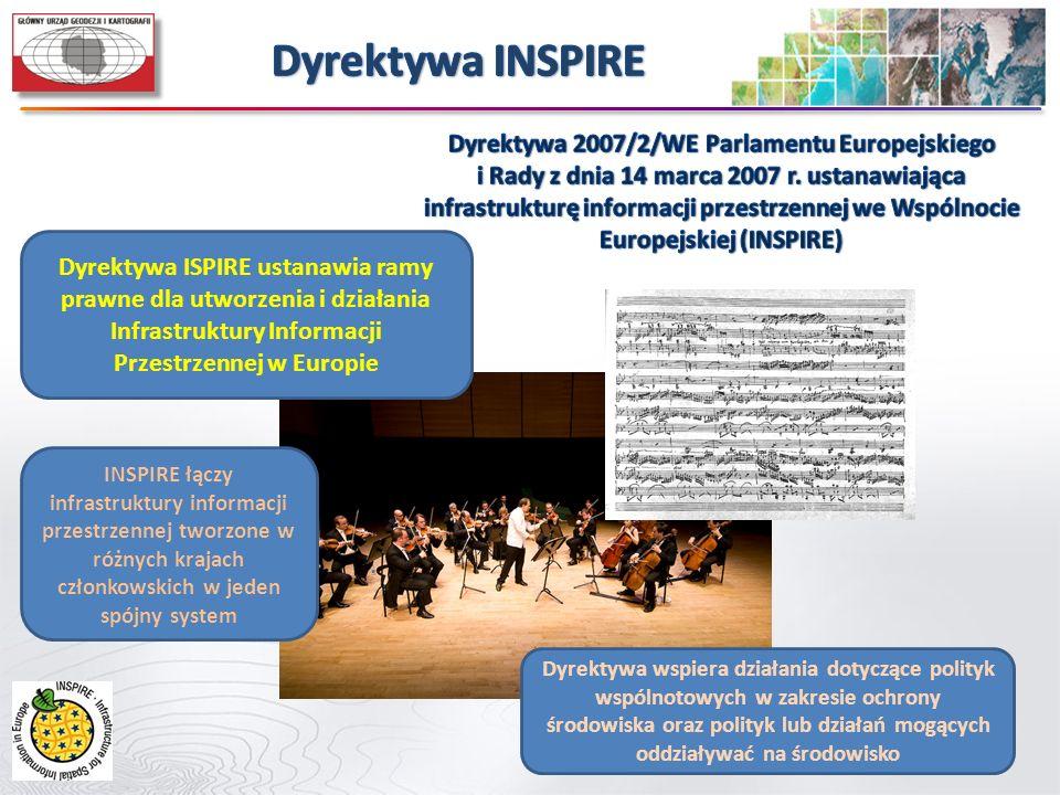 Dyrektywa ISPIRE ustanawia ramy prawne dla utworzenia i działania Infrastruktury Informacji Przestrzennej w Europie Dyrektywa wspiera działania dotycz