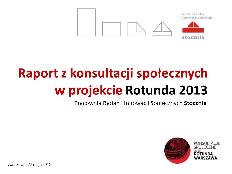 Raport z konsultacji społecznych w projekcie Rotunda 2013 Pracownia Badań i Innowacji Społecznych Stocznia Warszawa, 22 maja 2013