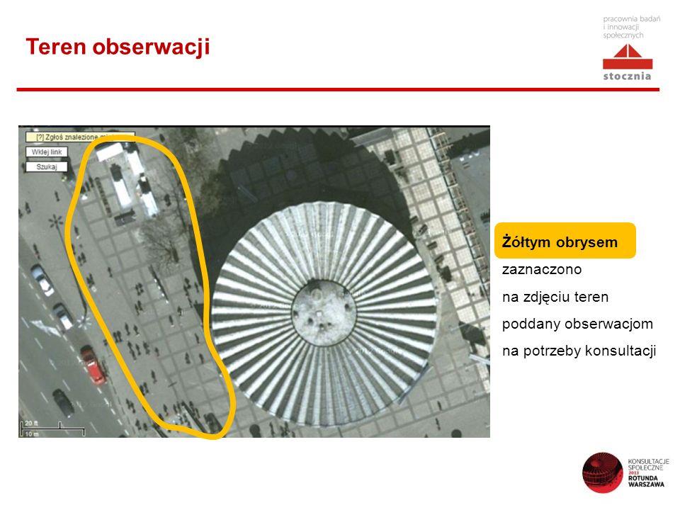 Teren obserwacji Żółtym obrysem zaznaczono na zdjęciu teren poddany obserwacjom na potrzeby konsultacji