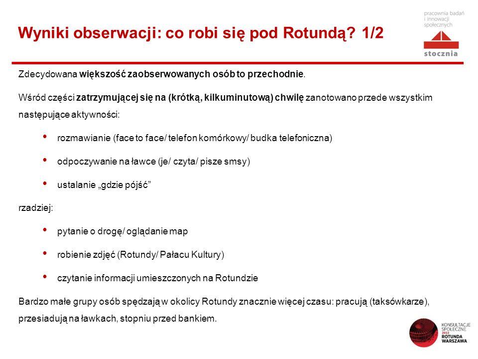 Wyniki obserwacji: co robi się pod Rotundą? 1/2 Zdecydowana większość zaobserwowanych osób to przechodnie. Wśród części zatrzymującej się na (krótką,