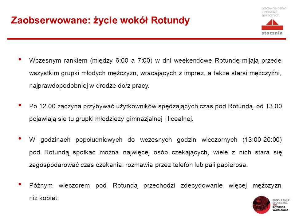Wczesnym rankiem (między 6:00 a 7:00) w dni weekendowe Rotundę mijają przede wszystkim grupki młodych mężczyzn, wracających z imprez, a także starsi m