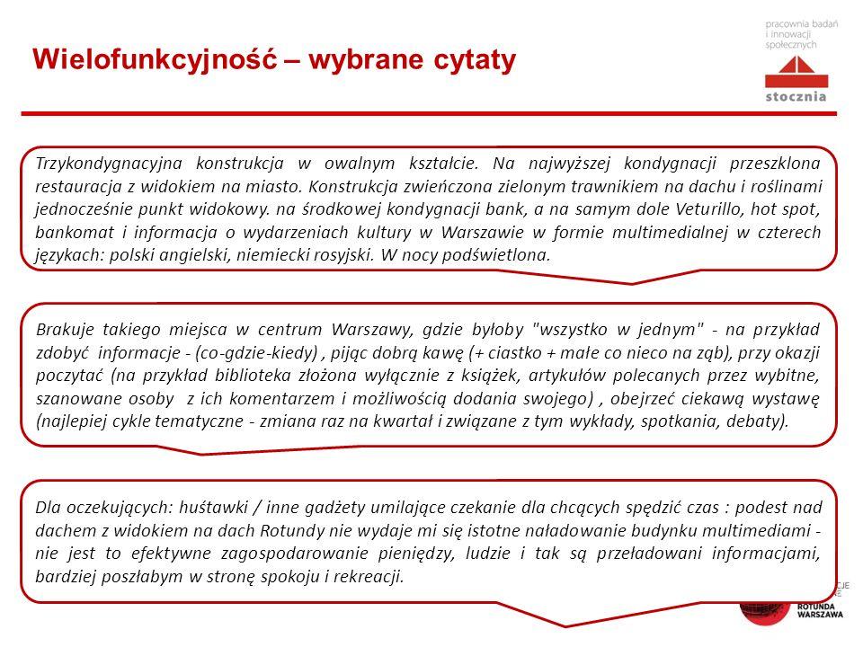 Wielofunkcyjność – wybrane cytaty Trzykondygnacyjna konstrukcja w owalnym kształcie. Na najwyższej kondygnacji przeszklona restauracja z widokiem na m
