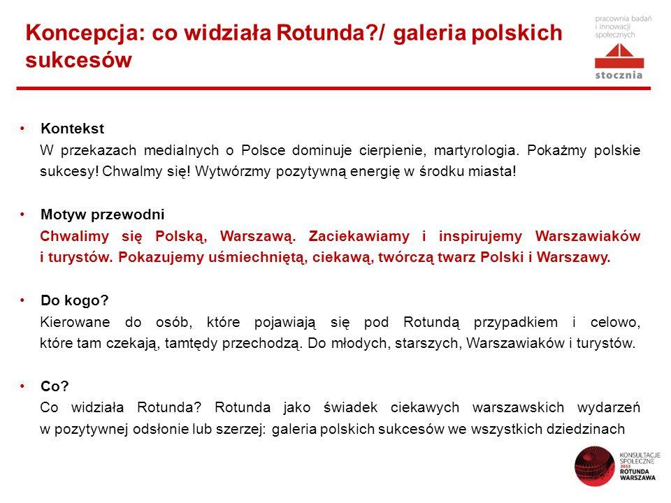 Koncepcja: co widziała Rotunda?/ galeria polskich sukcesów Kontekst W przekazach medialnych o Polsce dominuje cierpienie, martyrologia. Pokażmy polski