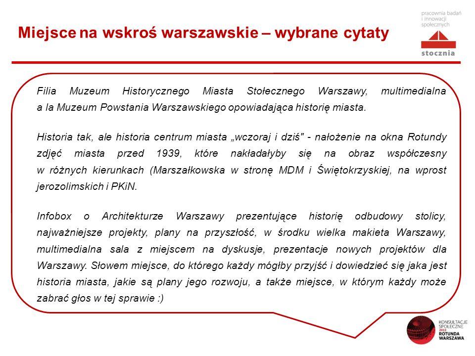 Miejsce na wskroś warszawskie – wybrane cytaty Filia Muzeum Historycznego Miasta Stołecznego Warszawy, multimedialna a la Muzeum Powstania Warszawskiego opowiadająca historię miasta.