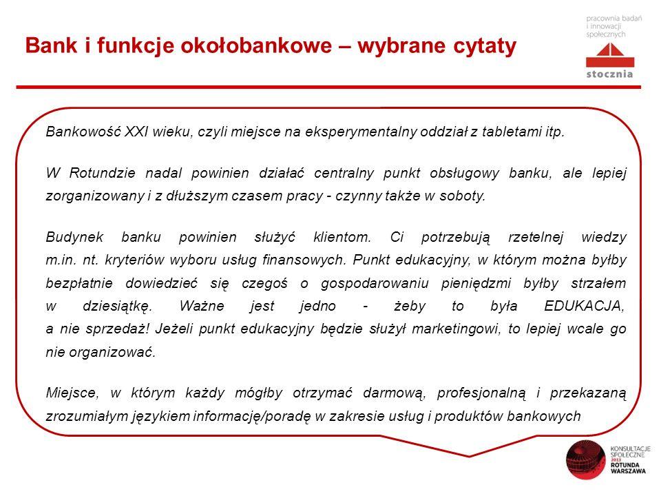 Bank i funkcje okołobankowe – wybrane cytaty Bankowość XXI wieku, czyli miejsce na eksperymentalny oddział z tabletami itp. W Rotundzie nadal powinien