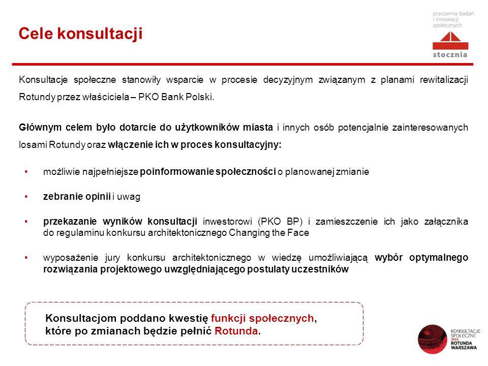 Cele konsultacji Konsultacje społeczne stanowiły wsparcie w procesie decyzyjnym związanym z planami rewitalizacji Rotundy przez właściciela – PKO Bank Polski.