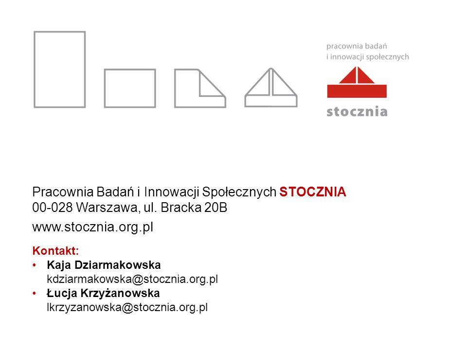 Pracownia Badań i Innowacji Społecznych STOCZNIA 00-028 Warszawa, ul. Bracka 20B www.stocznia.org.pl Kontakt: Kaja Dziarmakowska kdziarmakowska@stoczn