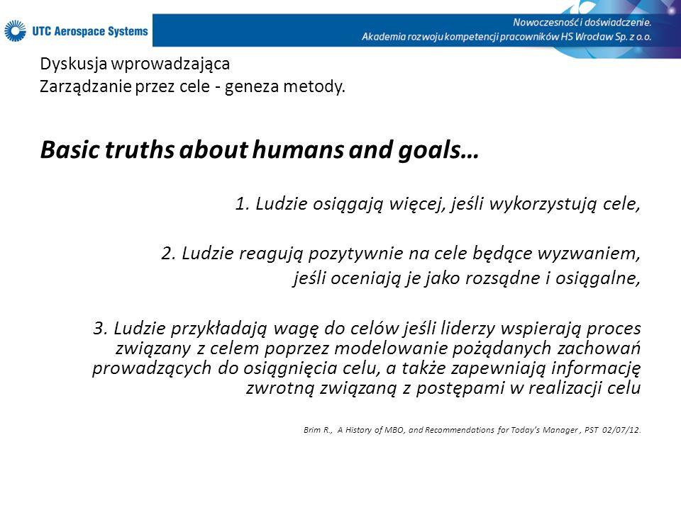 Dyskusja wprowadzająca Zarządzanie przez cele - geneza metody. Basic truths about humans and goals… 1. Ludzie osiągają więcej, jeśli wykorzystują cele