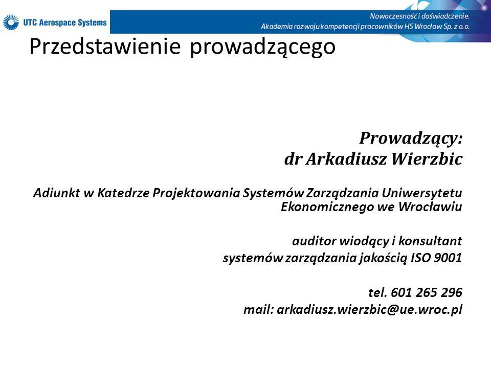Przedstawienie prowadzącego Prowadzący: dr Arkadiusz Wierzbic Adiunkt w Katedrze Projektowania Systemów Zarządzania Uniwersytetu Ekonomicznego we Wroc