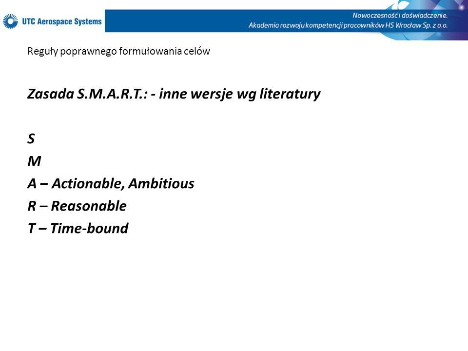 Reguły poprawnego formułowania celów Zasada S.M.A.R.T.: - inne wersje wg literatury S M A – Actionable, Ambitious R – Reasonable T – Time-bound