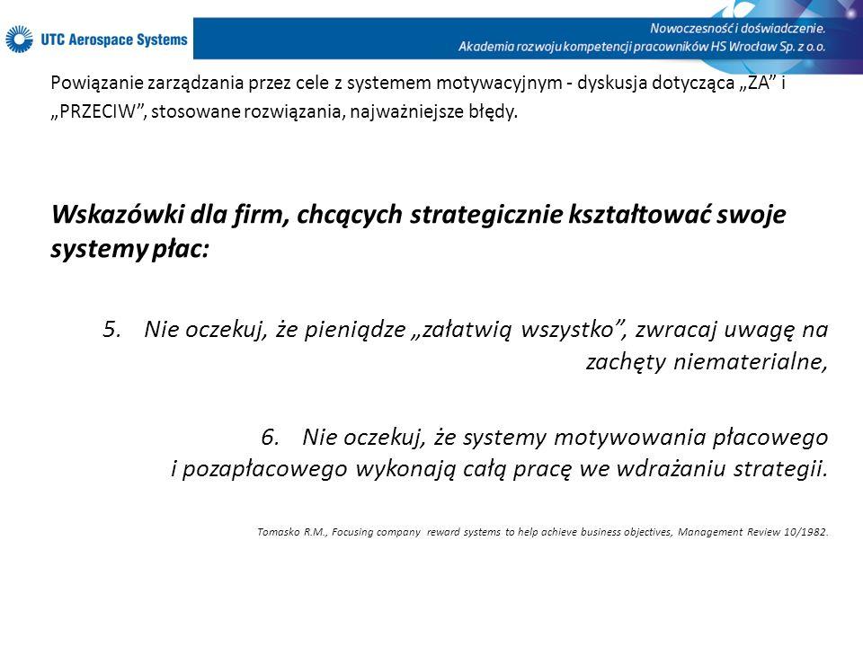 Powiązanie zarządzania przez cele z systemem motywacyjnym - dyskusja dotycząca ZA i PRZECIW, stosowane rozwiązania, najważniejsze błędy. Wskazówki dla