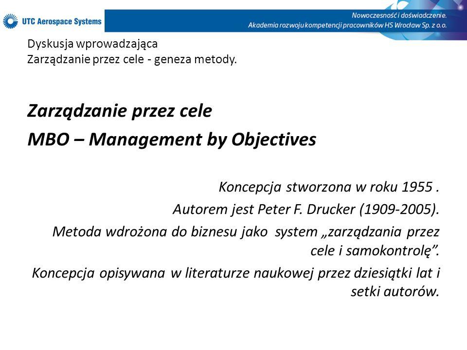 Dyskusja wprowadzająca Zarządzanie przez cele - geneza metody. Zarządzanie przez cele MBO – Management by Objectives Koncepcja stworzona w roku 1955.
