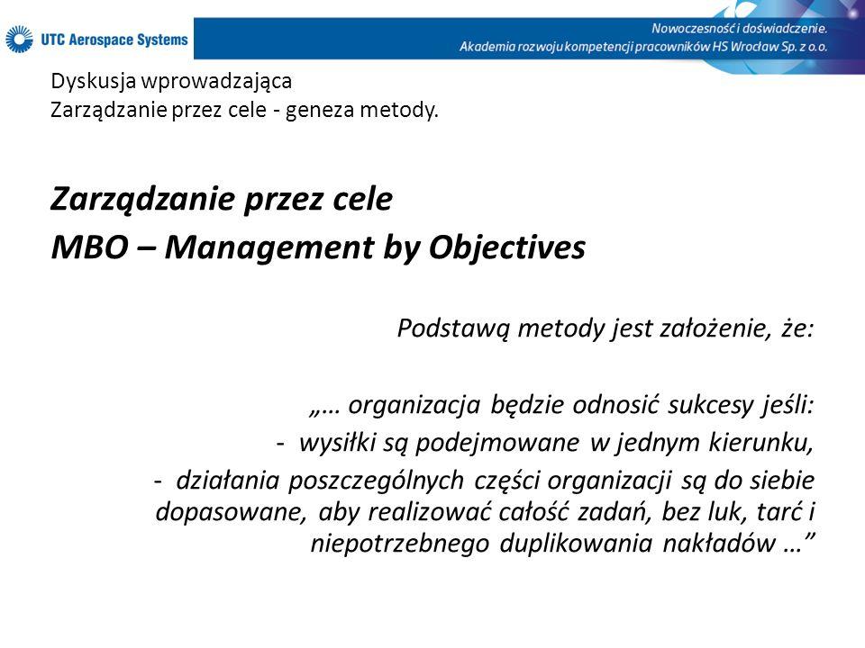 Dyskusja wprowadzająca Zarządzanie przez cele - geneza metody. Zarządzanie przez cele MBO – Management by Objectives Podstawą metody jest założenie, ż