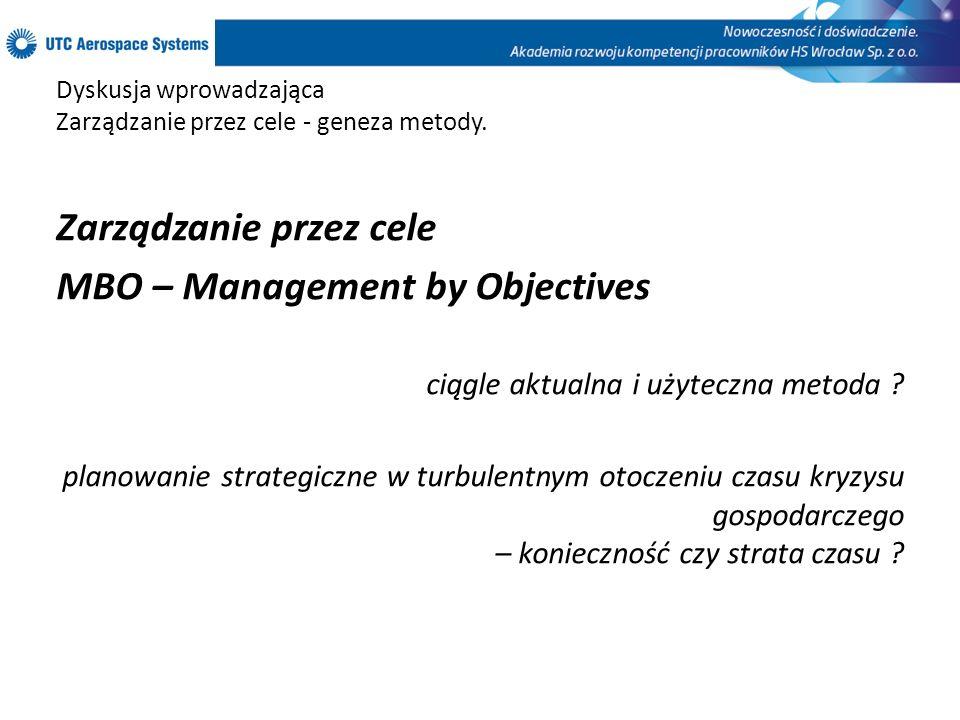 Dyskusja wprowadzająca Zarządzanie przez cele - geneza metody. Zarządzanie przez cele MBO – Management by Objectives ciągle aktualna i użyteczna metod