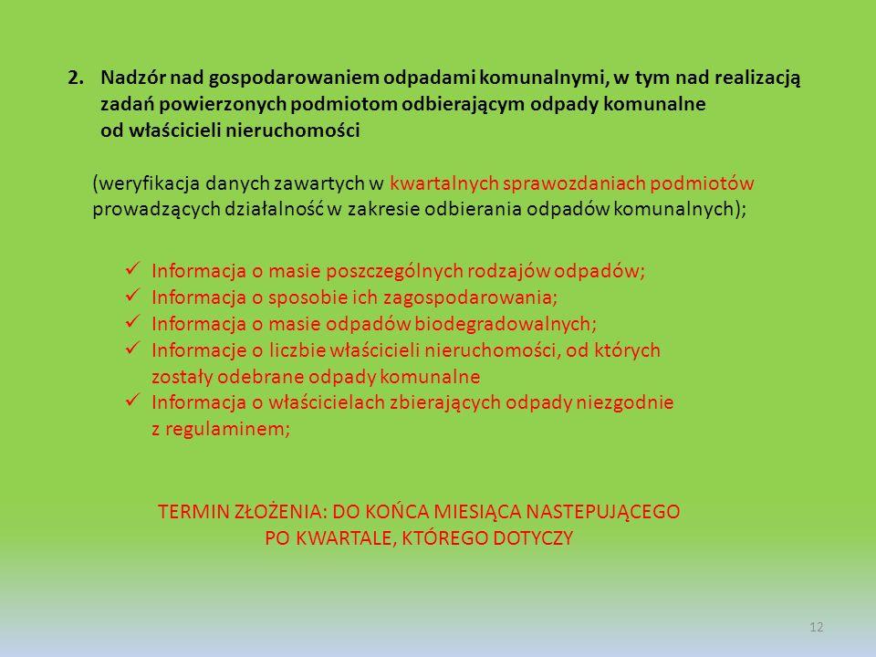 2.Nadzór nad gospodarowaniem odpadami komunalnymi, w tym nad realizacją zadań powierzonych podmiotom odbierającym odpady komunalne od właścicieli nier