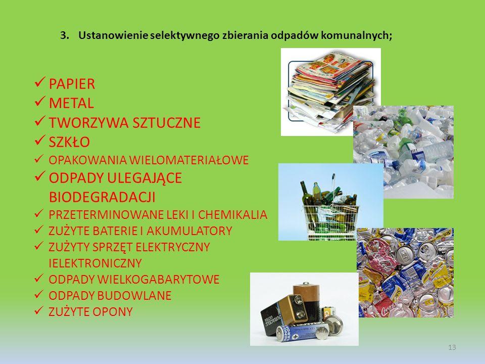 3.Ustanowienie selektywnego zbierania odpadów komunalnych; PAPIER METAL TWORZYWA SZTUCZNE SZKŁO OPAKOWANIA WIELOMATERIAŁOWE ODPADY ULEGAJĄCE BIODEGRAD