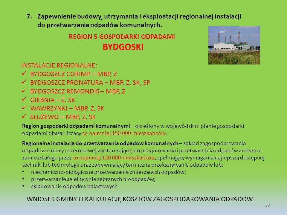 20 7.Zapewnienie budowy, utrzymania i eksploatacji regionalnej instalacji do przetwarzania odpadów komunalnych. Region gospodarki odpadami komunalnymi